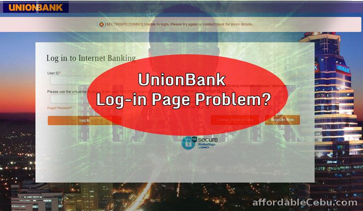 Unionbank Login Page Problem or Hack
