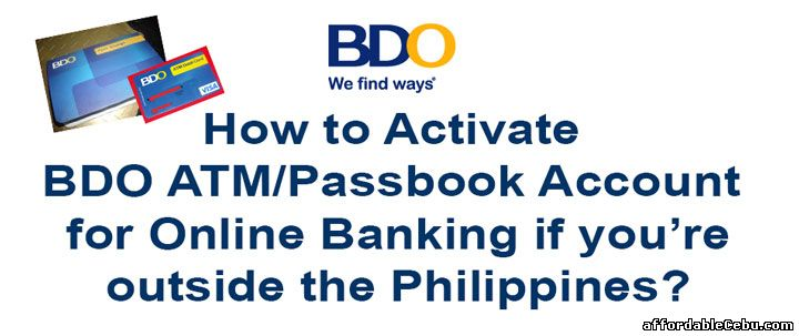 Activate BDO online banking for overseas OFW