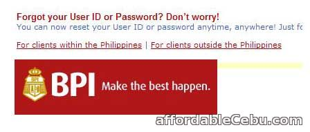 Retrieve lost BPI user id and password