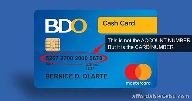 BDO Cash Card (Card Number) not Account Number