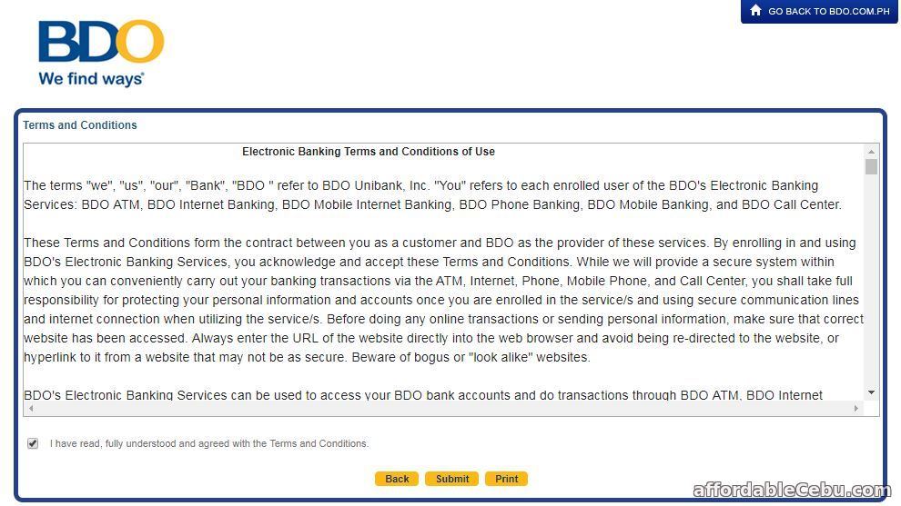 BDO Credit Card Online Banking Terms and Conditions