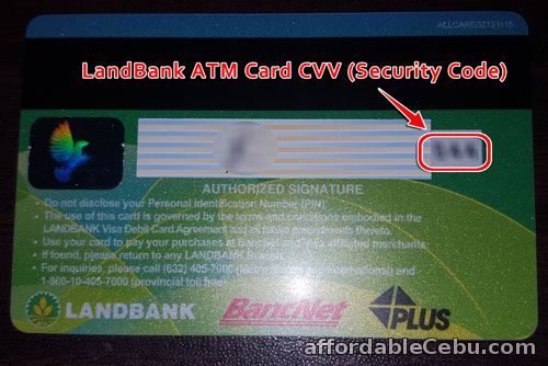 CVV Security Code of LandBank ATM Card