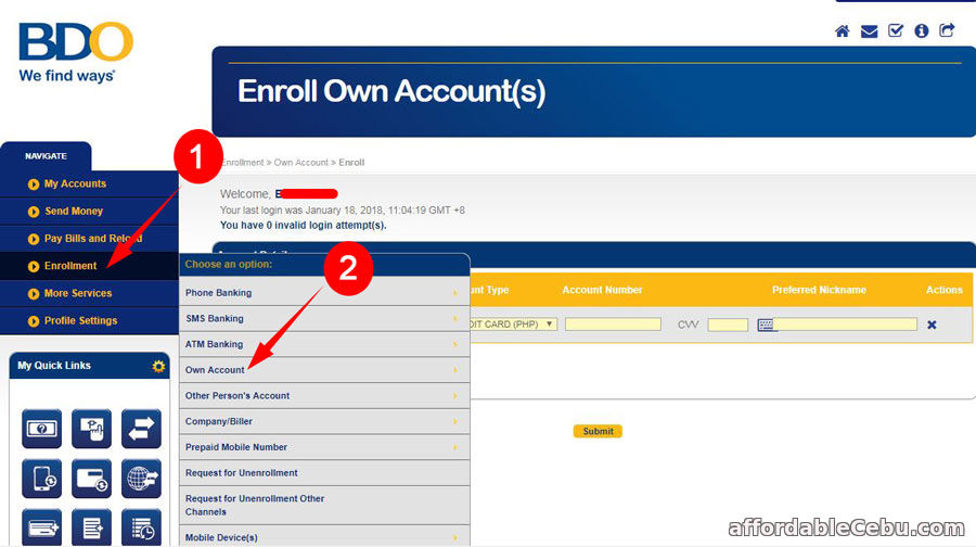 Enroll BDO Credit Card to Existing BDO Online Banking Account