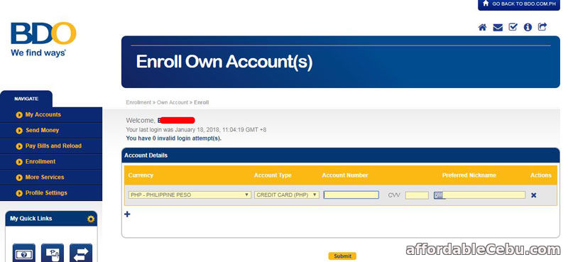 Enroll BDO Credit Card to Existing Online Banking Account