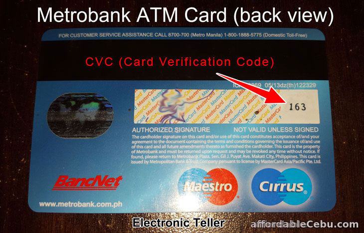 Example of CVC of Metrobank ATM Card