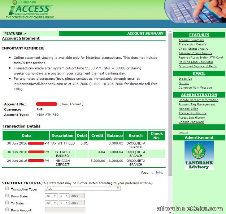 LandBank iAccess Internet Banking Balance Inquiry