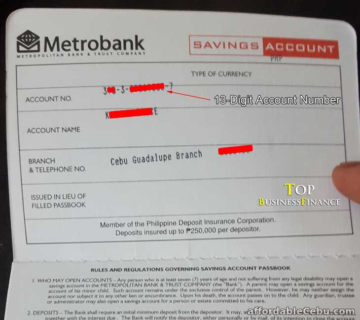 Metrobank Passbook with ATM Account Number