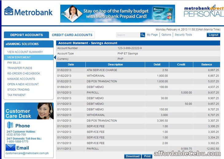 Metrobank Statement of Account