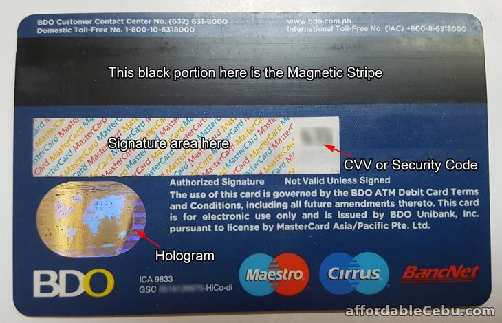 New BDO ATM Card back view
