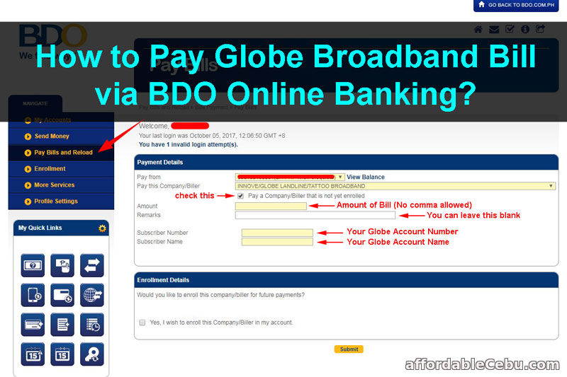 Pay Globe Broadband Bill via BDO Online Banking