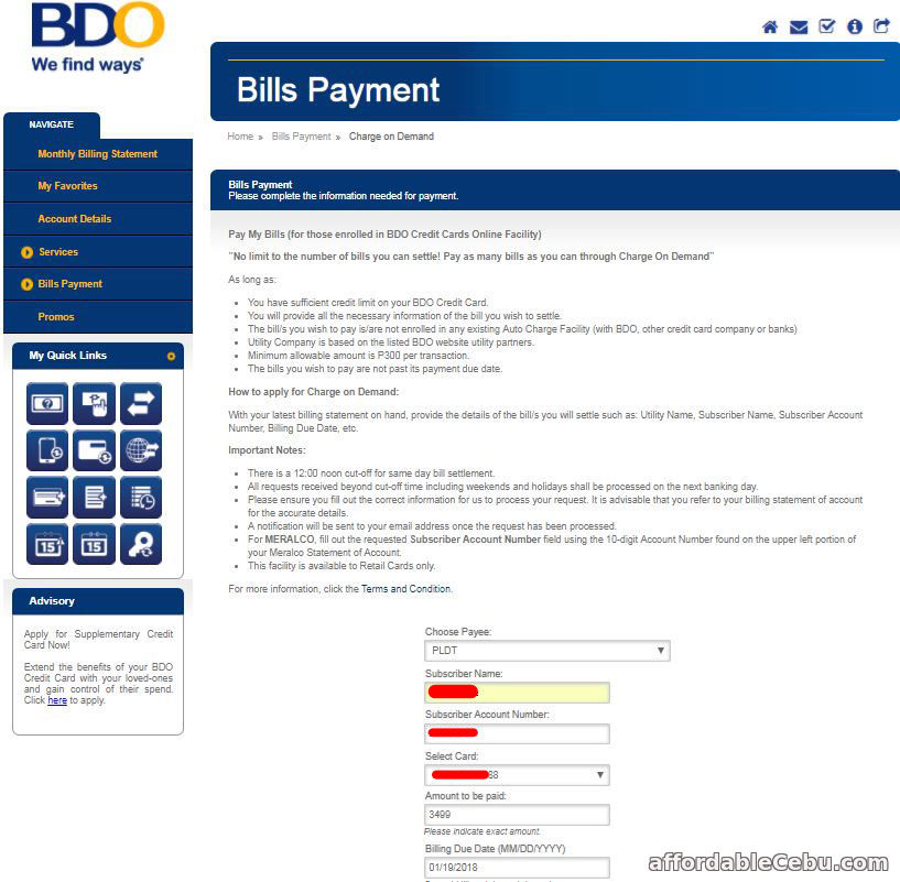 Pay PLDT Bill thru BDO Credit Card Online