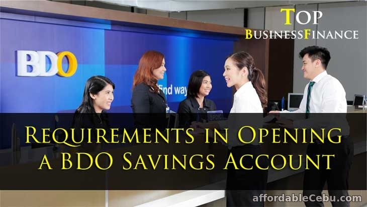 Requirements in Opening BDO Savings Account