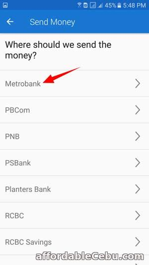 Transfer or send money from COINS.PH to Metrobank Account