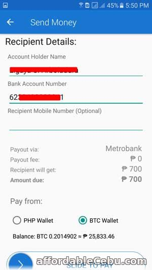Transfer Money from COINS.PH to Metrobank Account 5