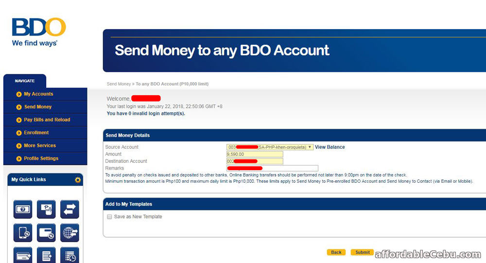 How to Transfer Money To Another Person Thru BDO Online Banking (Step 1)?