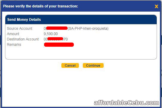 How to Transfer Money to Another Person thru BDO Online Banking (Step 2)?