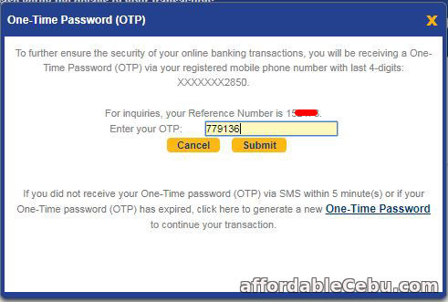 How to Transfer Money to Another Person thru BDO Online Banking (Step 3)?