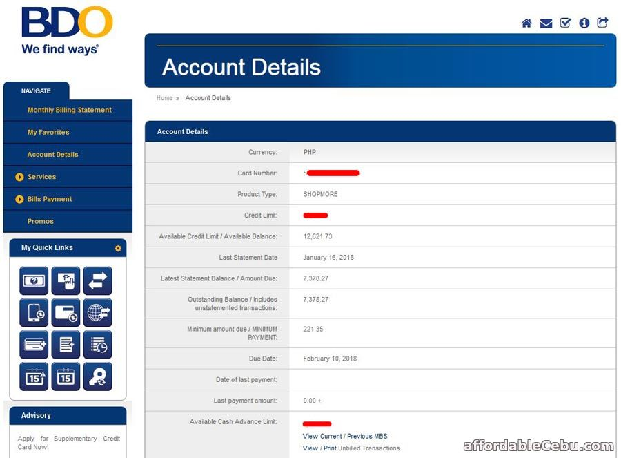 View BDO Credit Card Account Online