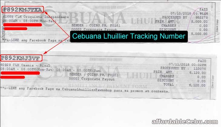 Cebuana Lhuillier Tracking Number Sample