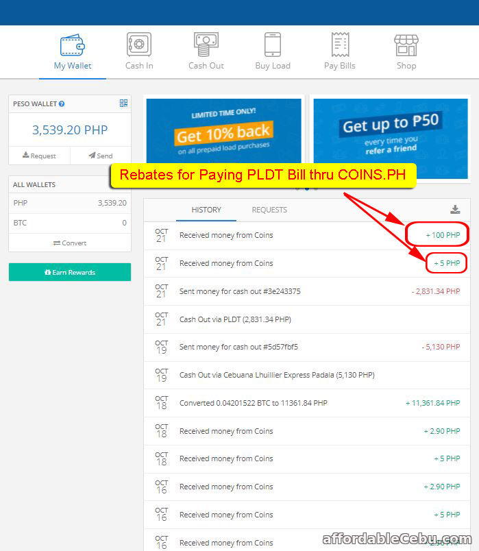 Pay PLDT Bill thru COINS.PH and Get Rebates