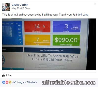 1OnlineBusiness.com Testimonial Proof of Income