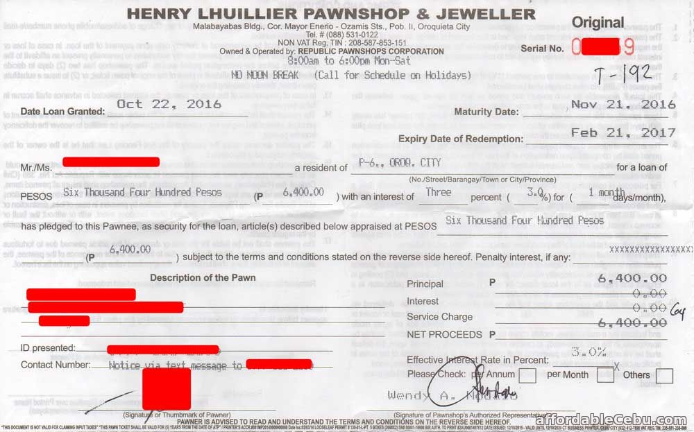 Henry Lhuillier Pawnshop Loan Receipt