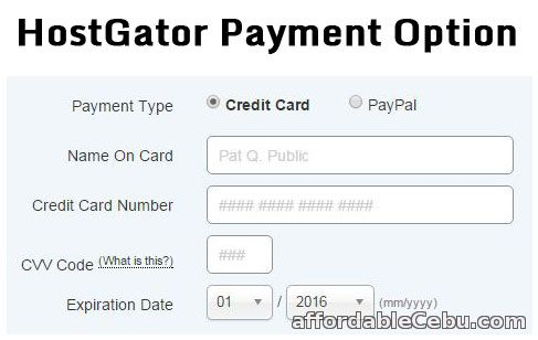 HostGator Payment Option