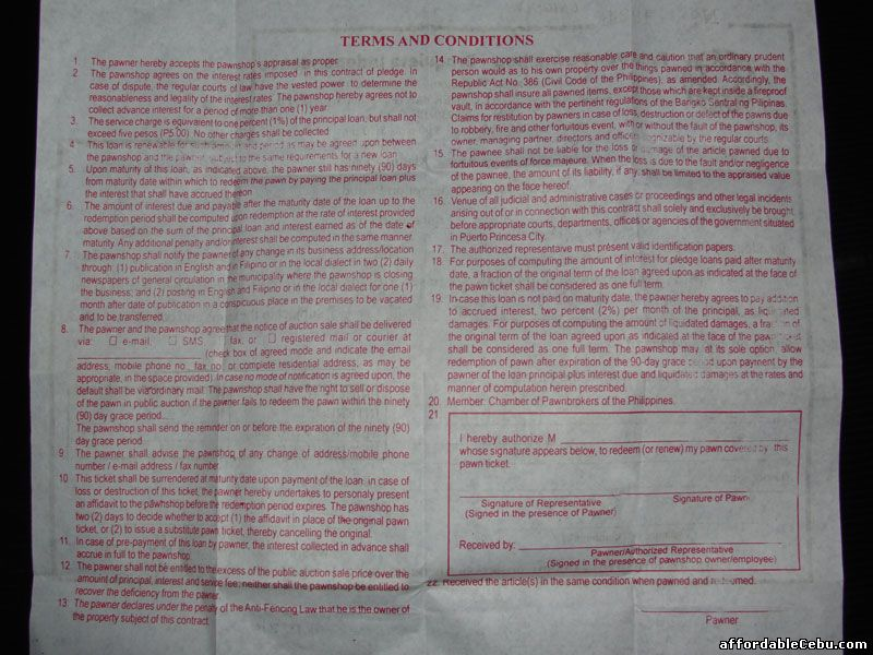 palawan pawnshop terms and conditions between pawner and