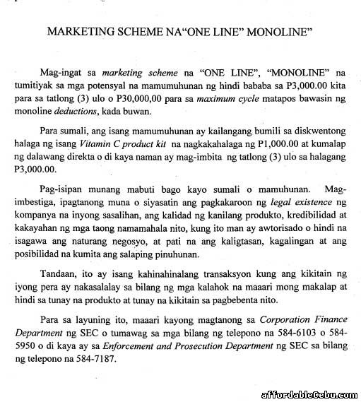 SEC warns against Online Monoline Marketing Scheme