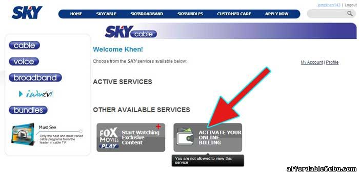 SkyCable online billing