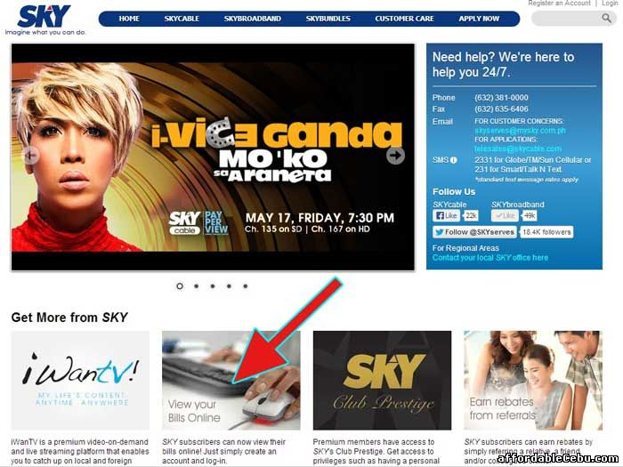 SkyCable view online bill