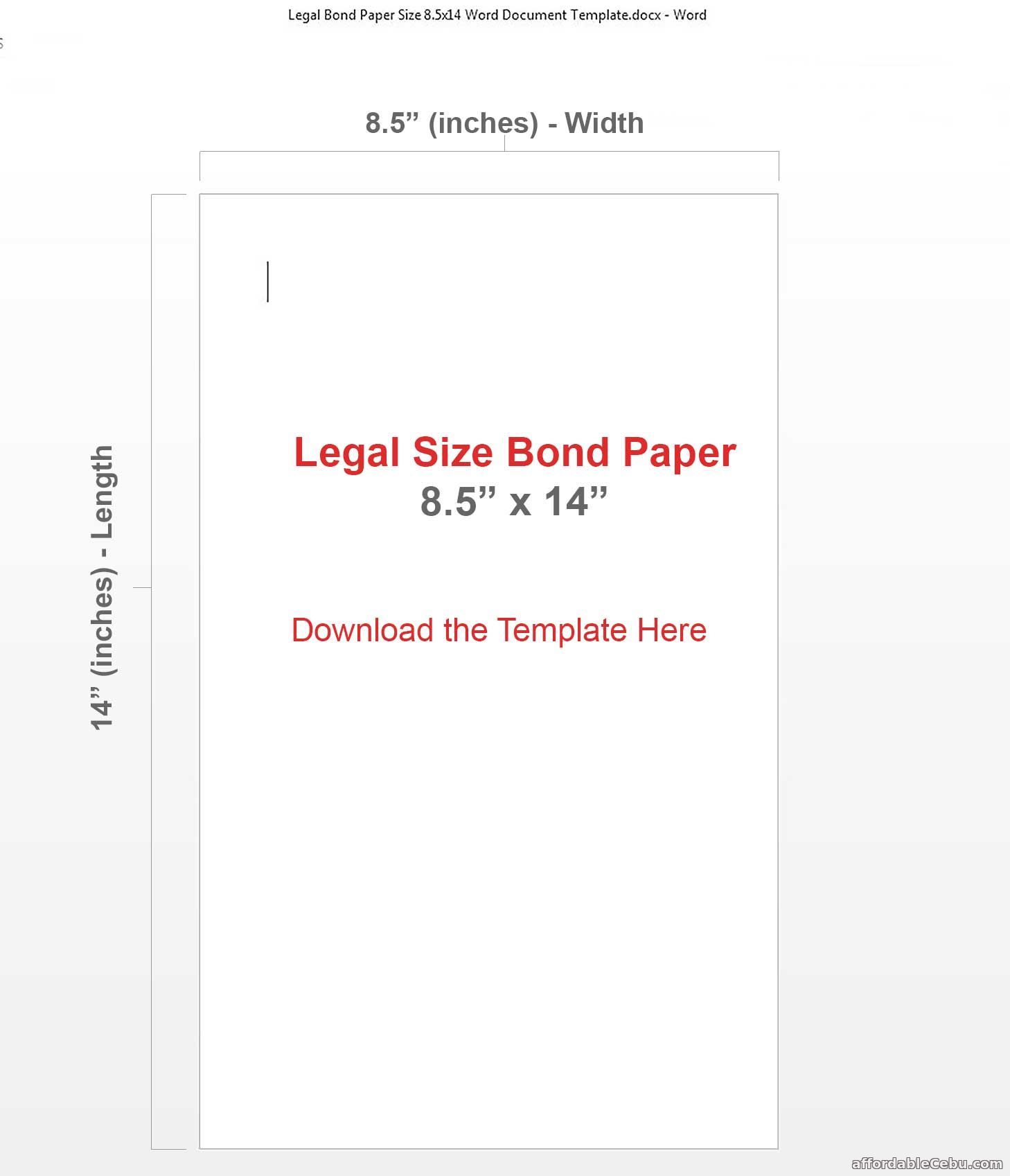 Legal Size Bond Paper 8.5 x 14