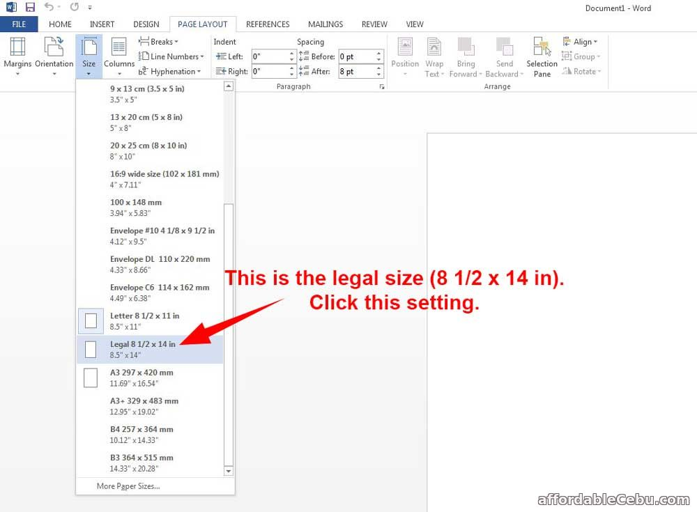 Set-up Legal Bond Paper Size