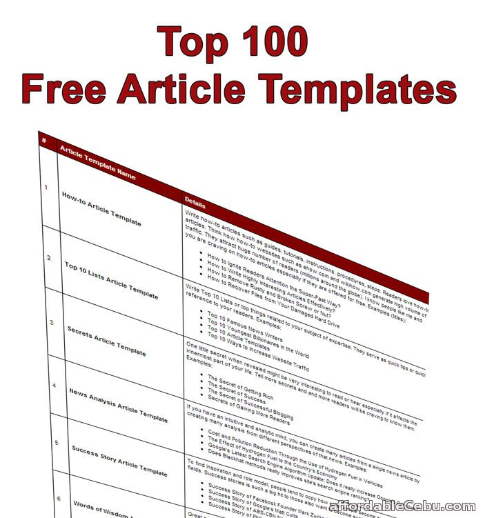Top 100 Free Article Templates