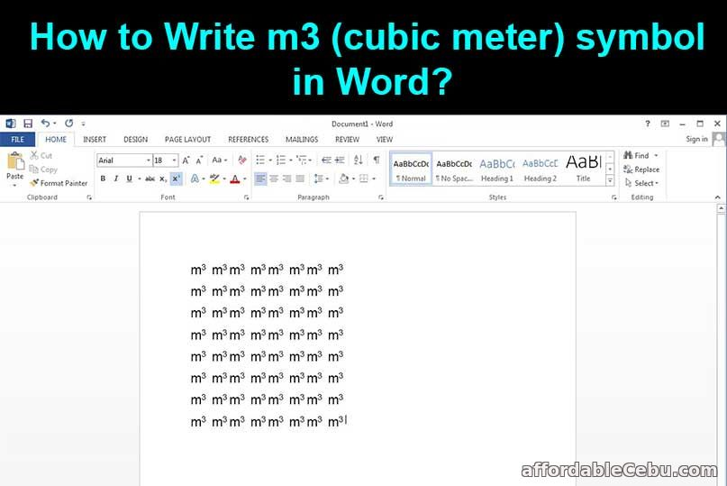 How to write m3 symbol in word?