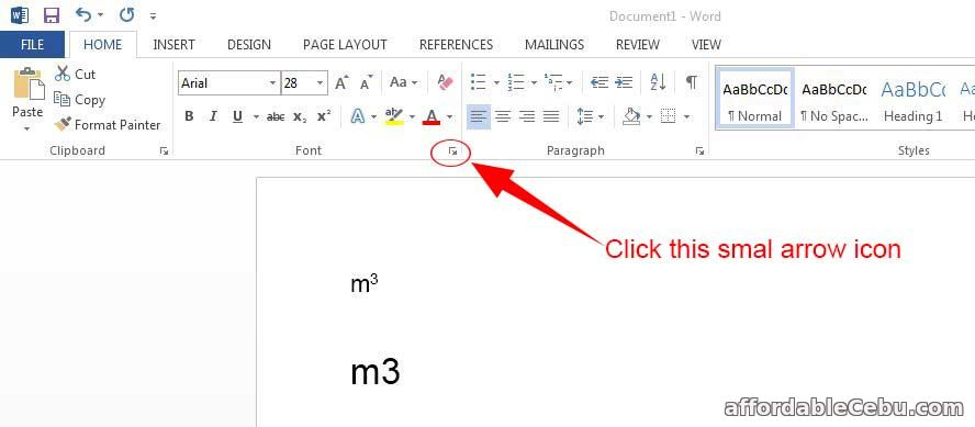 Write m3 symbol in Microsoft Word