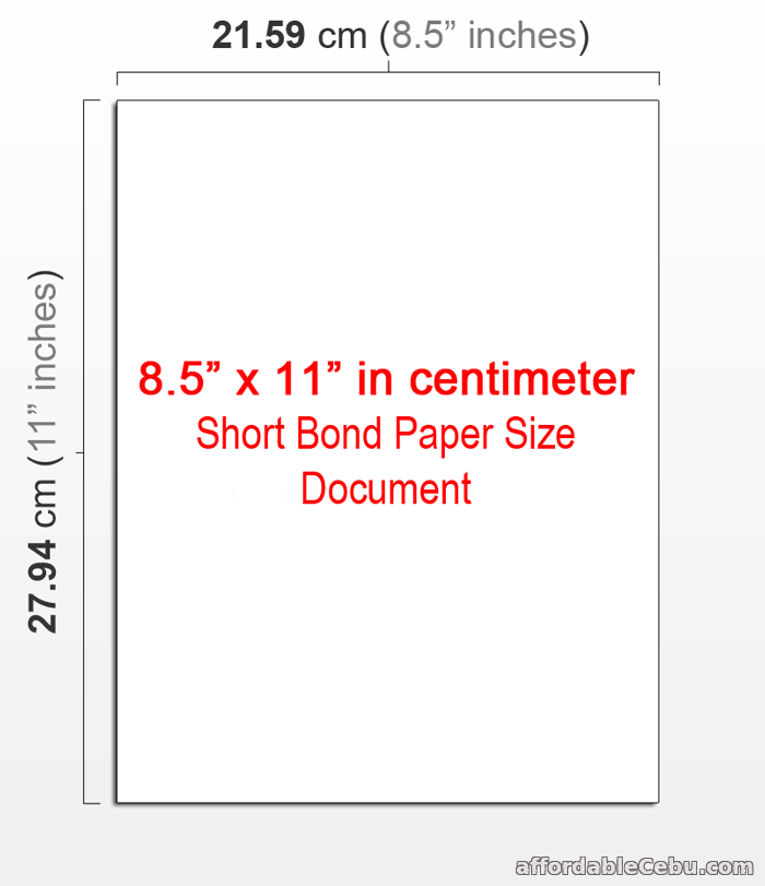 8.5 x 11 in cm (centimeter) document