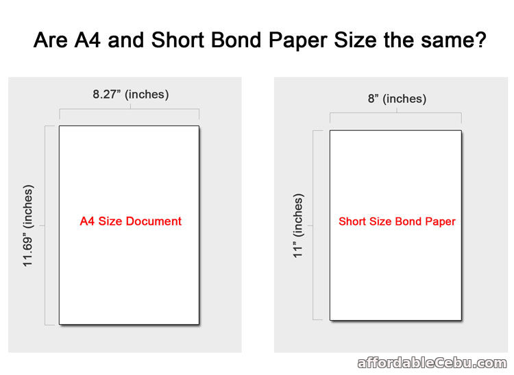 A4 and Short Bond Paper Size the Same?