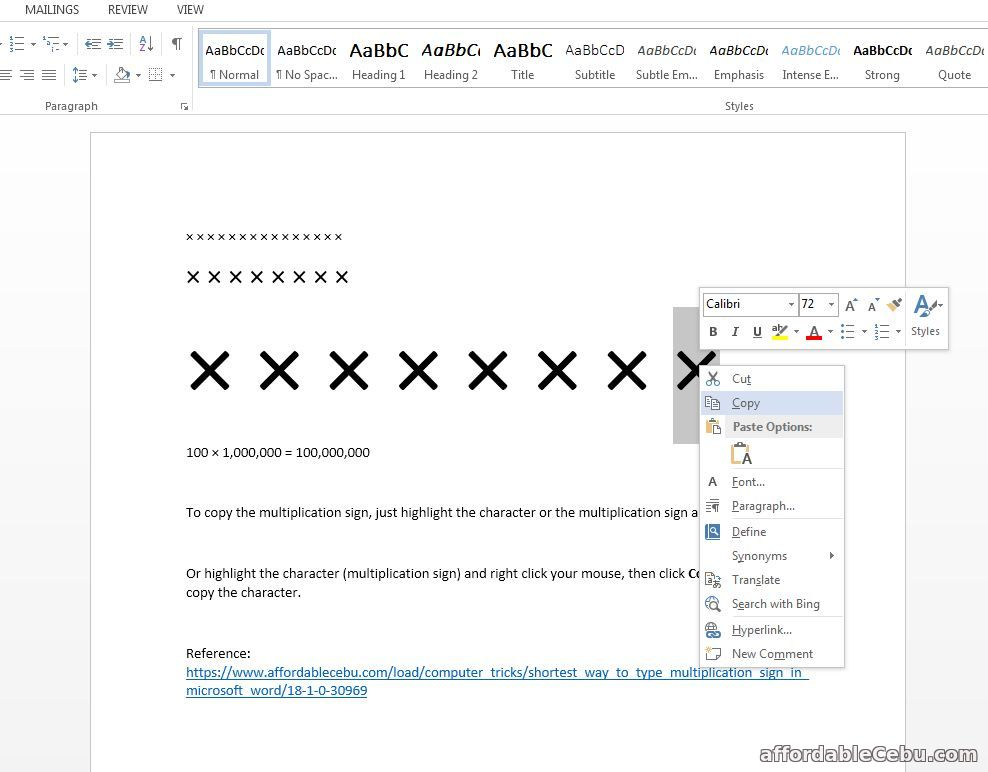 How to type multiplication sign in word