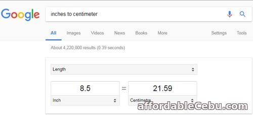 Inches to Centimeter Google Converter