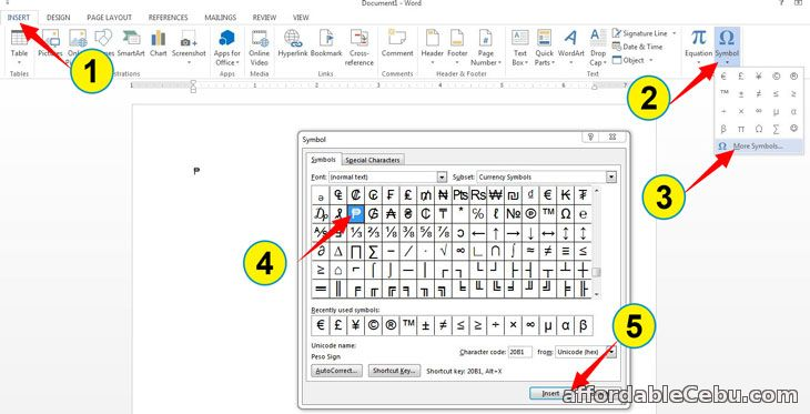 Insert PESO sign in Microsoft Word editor