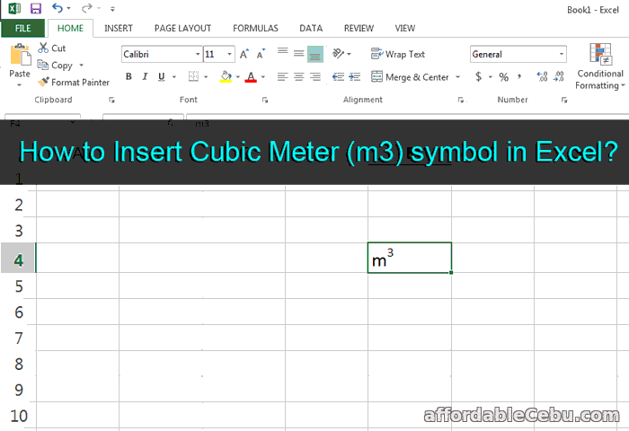 How To Insert Cubic Meter M3 Symbol In Excel Computers Tricks