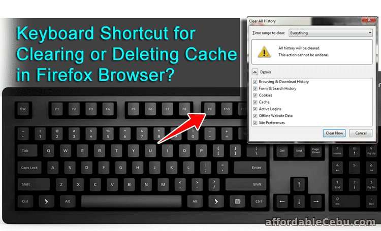 Keyboard Shortcut for Deleting Clearing Cache History in Firefox Browser