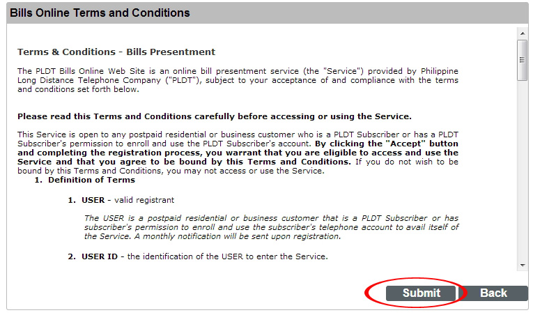 PLDT Bills Online Terms and Conditions