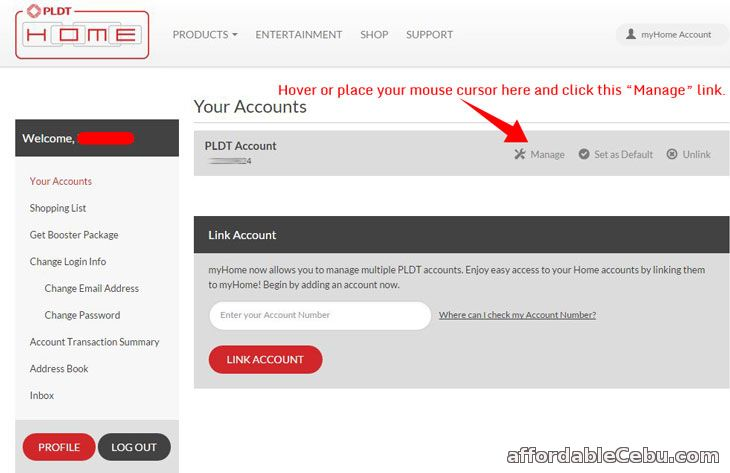 PLDT Online Bill Account
