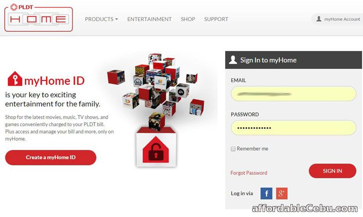 PLDT myHome Online Bill Website