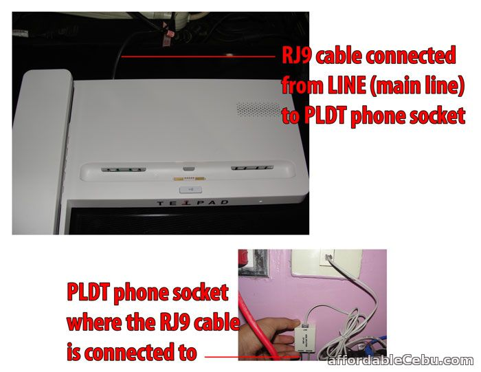 PLDT Telpad connected to PLDT phone socket