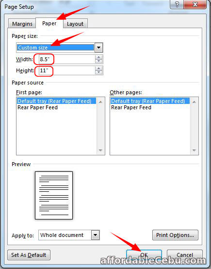 Set Short Bond Paper Size in Microsoft Word