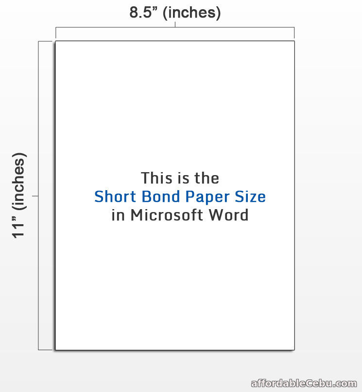 Short Bond Paper Size in Microsoft Word