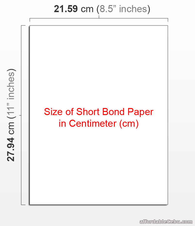 Size of Short Bond Paper in cm
